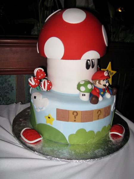 This is one damn cool Mario Cake! It even comes with turtle shells around ...