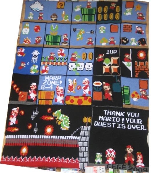 Bowser s blog 187 crocheted mario blanket