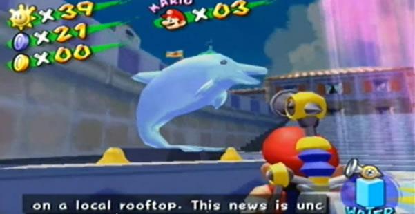 Super Mario Sunshine dolphin statue