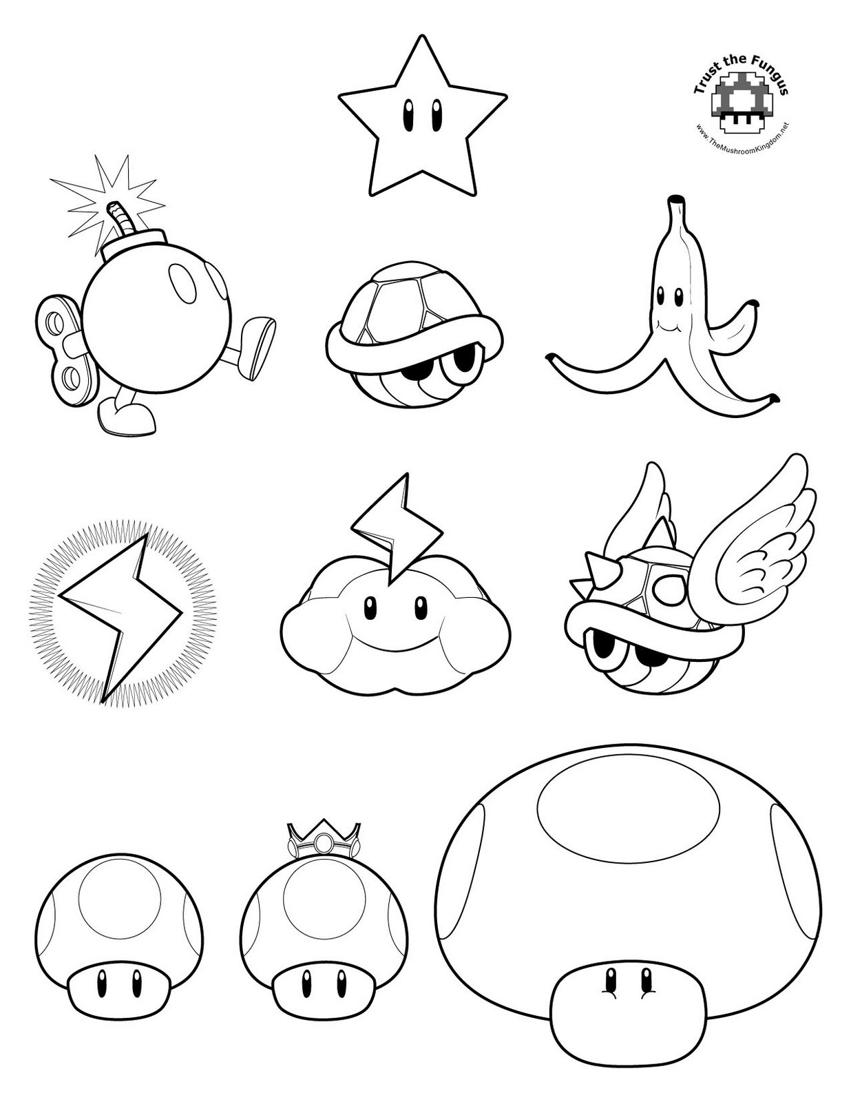 Mario Star Coloring Pages Black And White Super